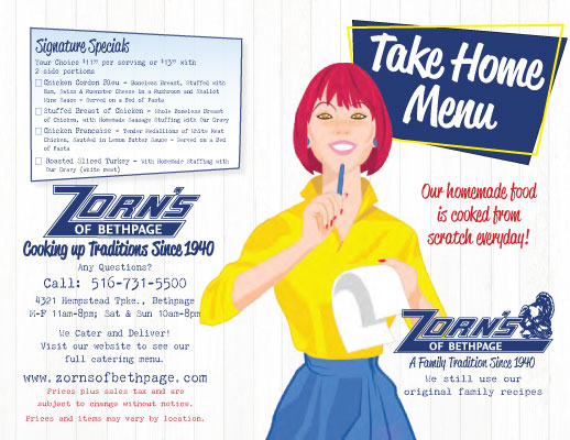 Take Home Menu